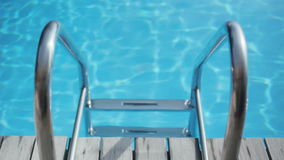 Steps into Blue Swiming Pool stock video