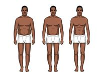 Steps of body transformation. Afro american guy before and after lose weight Royalty Free Stock Photo