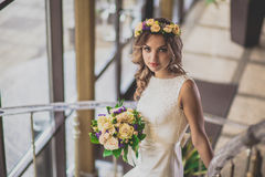 Steps bride flowers Royalty Free Stock Photo