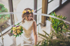 Steps bride flowers Royalty Free Stock Photos