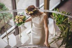 Steps bride flowers Stock Image