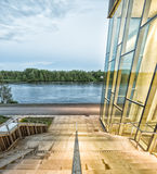 Steps by Building. With River and Trees Royalty Free Stock Photo