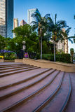 Steps and buildings at Pershing Square, in downtown Los Angeles, Royalty Free Stock Photos