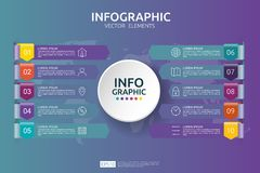 10 steps business infographic. timeline design template with arrow and circle element concept with options. For content, diagram,. Flowchart, steps, parts Vector Illustration