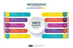 10 steps business infographic. timeline design template with arrow and circle element concept with options. For content, diagram,. Flowchart, steps, parts Stock Illustration