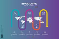 5 steps business infographic. timeline design template with arrow element and world map pin background concept with options. For c. Ontent, diagram, flowchart vector illustration