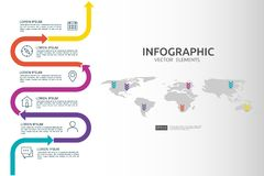 6 steps business infographic. timeline design template with arrow element and world map pin background concept with options. For c. Ontent, diagram, flowchart vector illustration