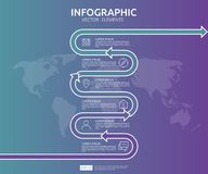 6 steps business infographic. timeline design template with arrow element and world map pin background concept with options. For c. Ontent, diagram, flowchart stock illustration