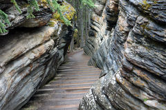 Steps through a cavern in the rockies Stock Photos