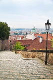 Steps and cityscape view of historical buildings in Prague, Czec Royalty Free Stock Photos