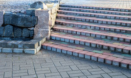 Steps of colored concrete beams Royalty Free Stock Images