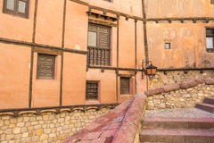 Steps and colorfull houses in medieval Albarracin Stock Image
