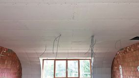 Steps of construction of a interior roof stock video