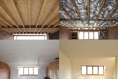 Steps of construction of a roof Royalty Free Stock Photography