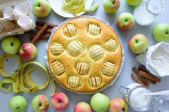 Steps of cooking apple pie. Fresh harvest apples, cinnamon, flour, sugar, butter, eggs, milk and baking mold royalty free stock photography