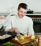Steps of cooking french-style meat Royalty Free Stock Photography