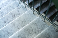 The steps covered in whitewash. Renovation of the house. Royalty Free Stock Photos