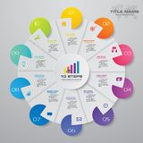 10 steps cycle chart infographics elements. EPS 10 vector illustration