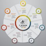 7 steps cycle chart infographics elements. EPS 10. Abstract 7 steps cycle chart infographics elements. EPS 10. For data presentation stock illustration