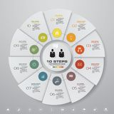 10 steps cycle chart infographics elements. EPS 10. Abstract 10 steps cycle chart infographics elements. EPS 10. For data presentation Vector Illustration