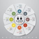 8 steps cycle chart infographics elements. EPS 10. 8 steps cycle chart infographics elements for data presentation. EPS 10 vector illustration