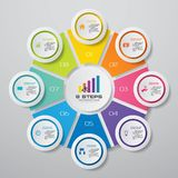 8 steps cycle chart infographics elements. EPS 10. For your data presentation stock illustration