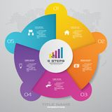 5 steps cycle chart infographics elements. EPS 10. For your data presentation stock illustration