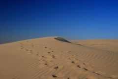 Steps in the desert. Walking in the desert in Qatar Stock Photo