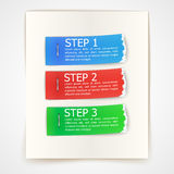 Steps design on torn edge paper stickers Stock Photo