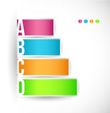 Steps with different options and descriptions. Colored steps with different options and descriptions illustration design Royalty Free Stock Photos