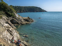 Steps down to the beach from Dartmouth Castle Royalty Free Stock Photography