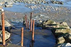Steps down to beach Lyme Regis Dorset. Concrete steps down to the beach at Lyme Regis Dorset on the Jurassic coast England Royalty Free Stock Image