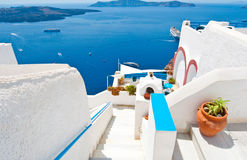 Steps down to the Idyllic patio in Fira on the island of Thera(Santorini), Greece. Stock Photography