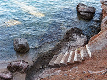 Steps Down to Sea Water stock images