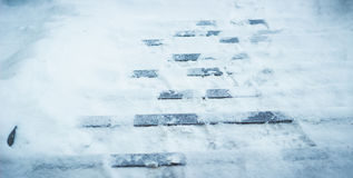 Steps at the entrance covered with snow Stock Images