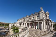 Steps and facade of the castle Queluz. Sintra. Royalty Free Stock Photo