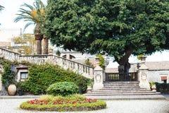 Steps and garden in Villa Cerami in Catania city Royalty Free Stock Photos