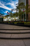 Steps and gardens at the New York Vietnam Veterans Memorial Plaz Stock Photography