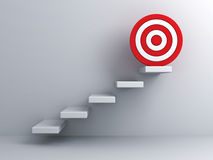 Steps with goal target business concept. Over white wall background Stock Images