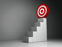 Steps and graph to the red target business Stock Photo