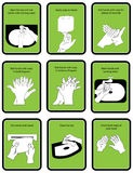 9 steps of hand wash procedure for hygiene in  illustratio Stock Photos