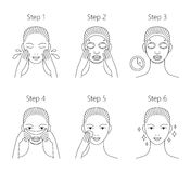 Steps how to apply facial mask. Vector  illustrations se Royalty Free Stock Photography