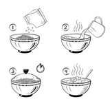 Steps how to cook porridge. Vector illustration Stock Photography