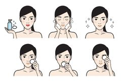 Steps how to facial care.Vector illustration stock illustration