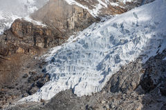 Steps of huge glacier in Khumbu walley. In Himalayas Royalty Free Stock Images
