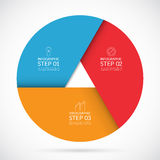 3 steps infographic circle template in material style Stock Photography