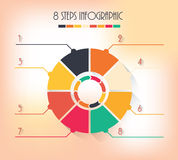8 steps infographic. Color arrows circles 8 steps infographic business vector template Royalty Free Stock Images