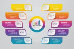 10 steps infographic element chart for data presentation. Abstract 10 steps infographic element chart for data presentation. EPS 10 stock illustration