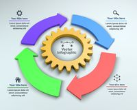 4 Steps Infographic with Gear and Arrows. 4 options, 3D vector infographic with Cog Wheel Abstract vector business illustration. Can be used for workflow layout vector illustration
