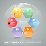 6 steps infographic template. can be used for workflow layout, diagram Stock Photography